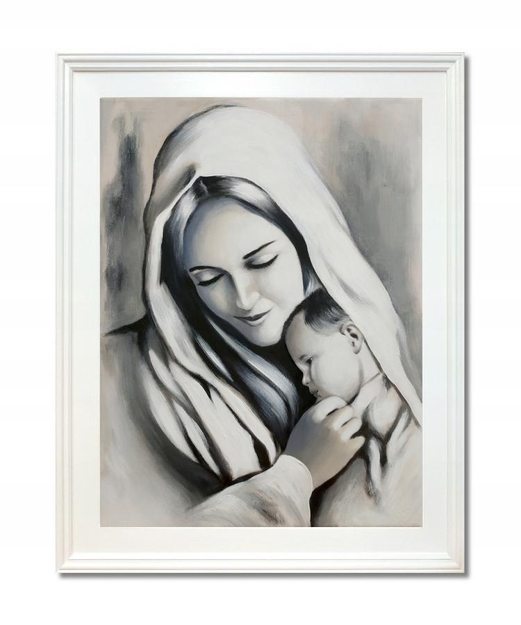 OBRAZ MARYJA MATKA BOSKA Z JEZUSEM MALOWANY JEZUS