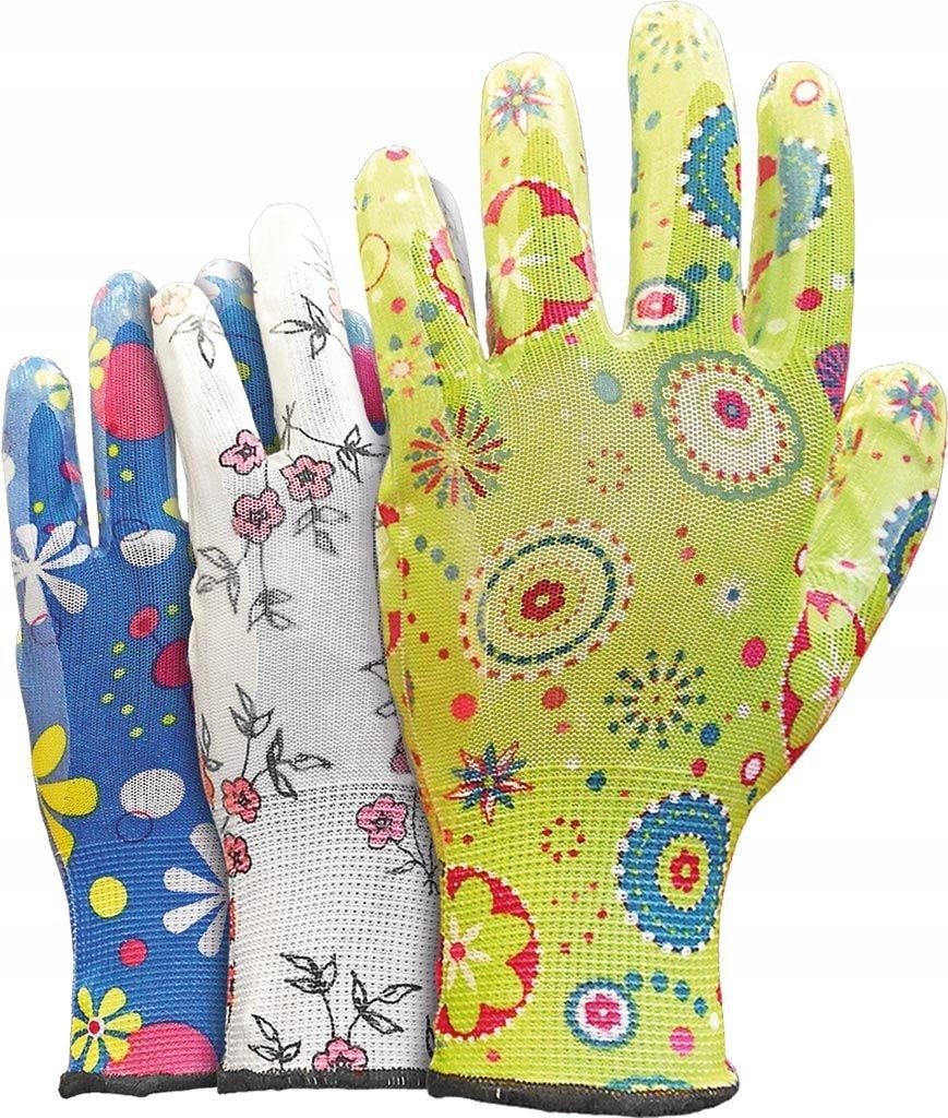 Rękawiczki damskie do ogrodu GARDEN nitryl r.7-3p