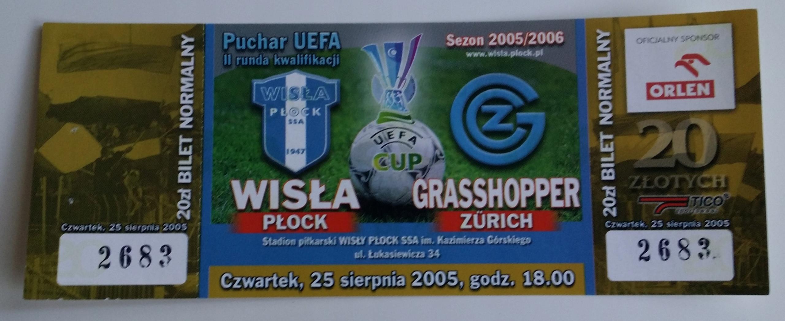 Bilet Wisła Płock - Grasshopper Zurich 25.08.2005