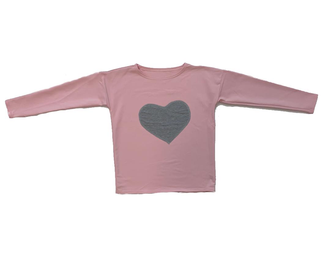 Kolorowa bluza z szarym sercem - 116 RÓŻ