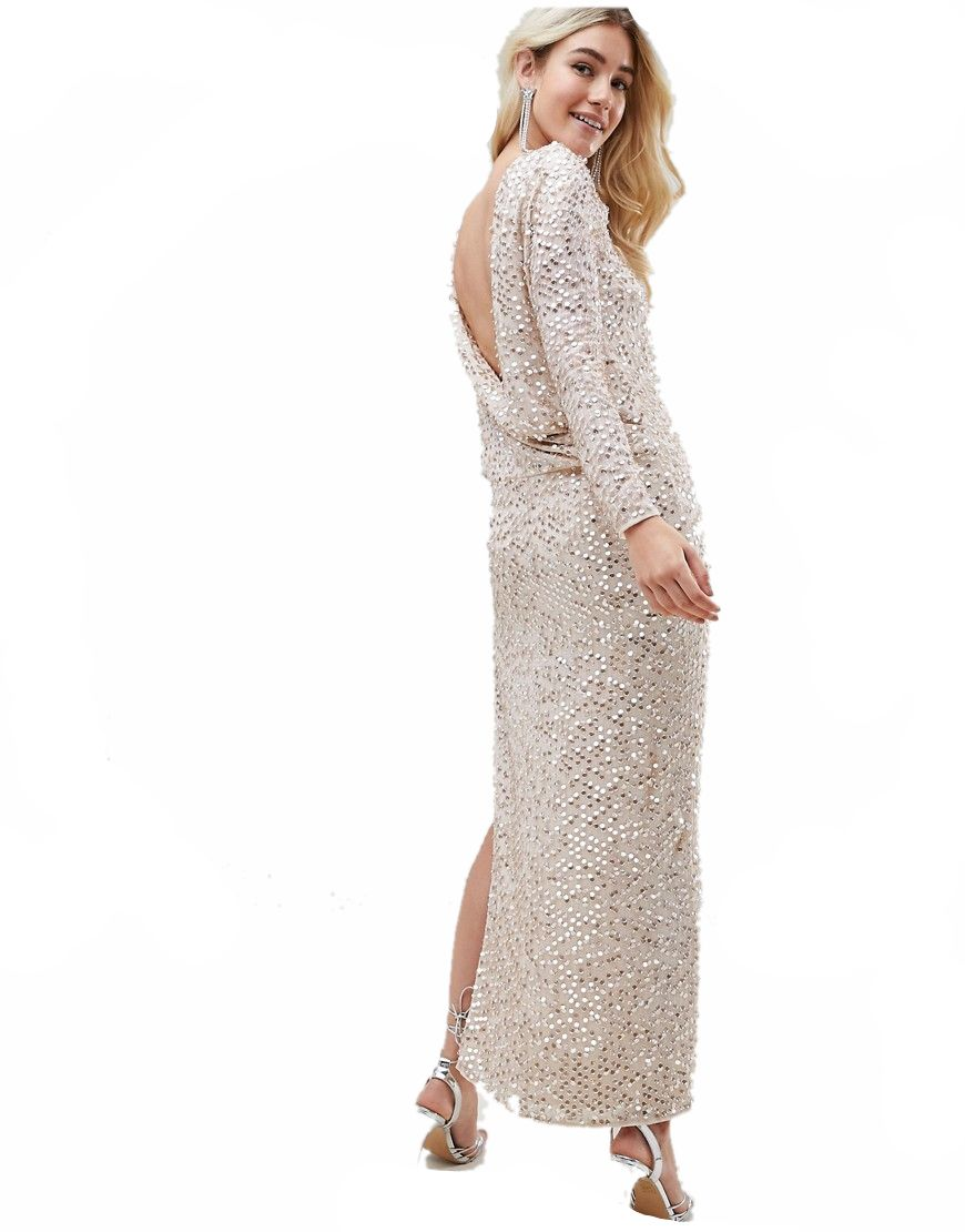 b3c49f2b6674a2 sukienka MAXI cekinowa BEŻOWA plecy XL 42 - 7527102733 - oficjalne ...