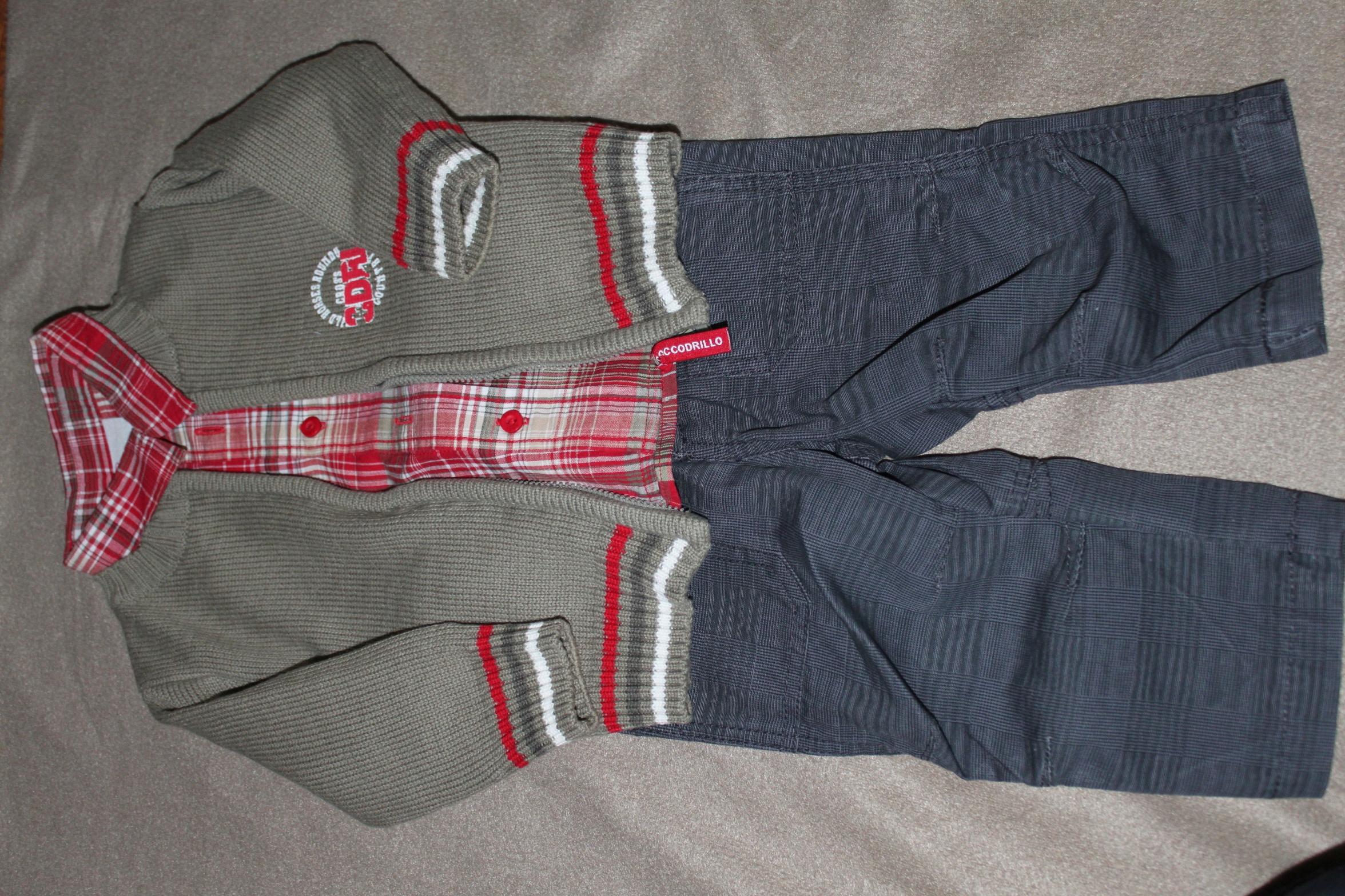 Zestaw rozm.68 spodnie+ koszula +sweter