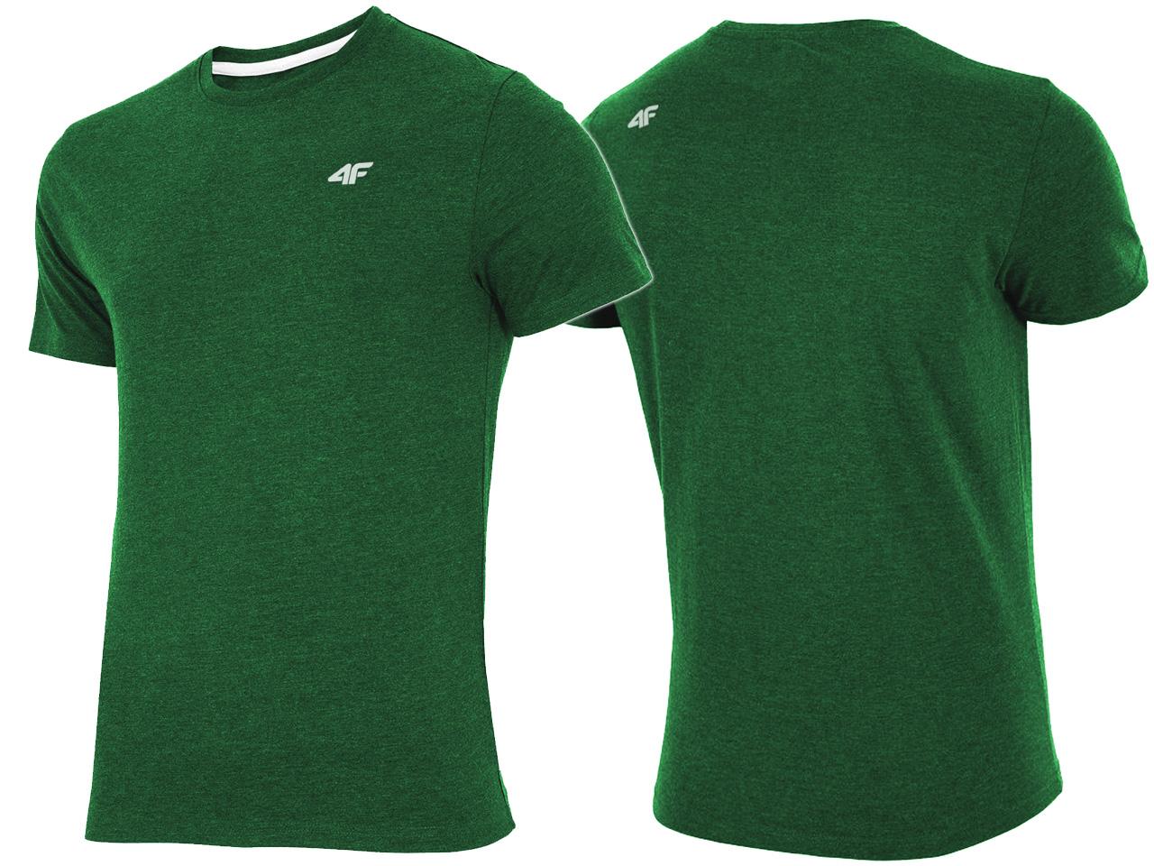 4F T-shirt Męski KOSZULKA L19 Zielony Melanż L