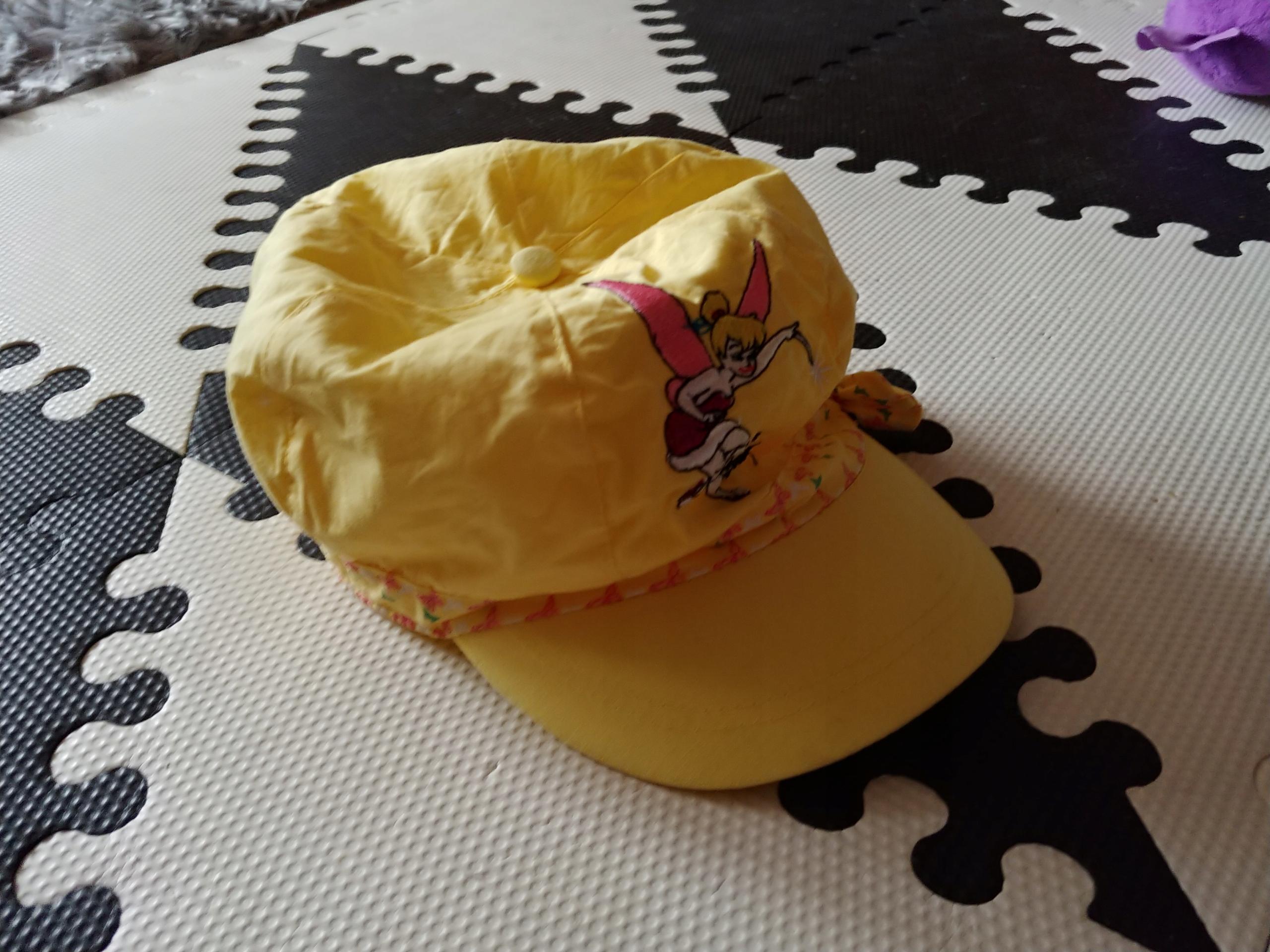 Żółty kaszkiet czapka daszkiem kokardka 50-53 bdb+