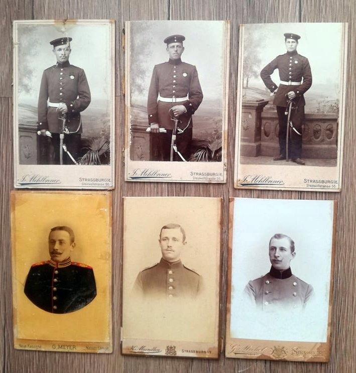 6 szt małe twarde zdjęcia wojskowych