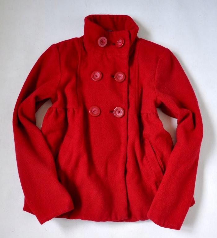 ZARA Płaszcz Wełniany 11-12lat 152cm Czerwony
