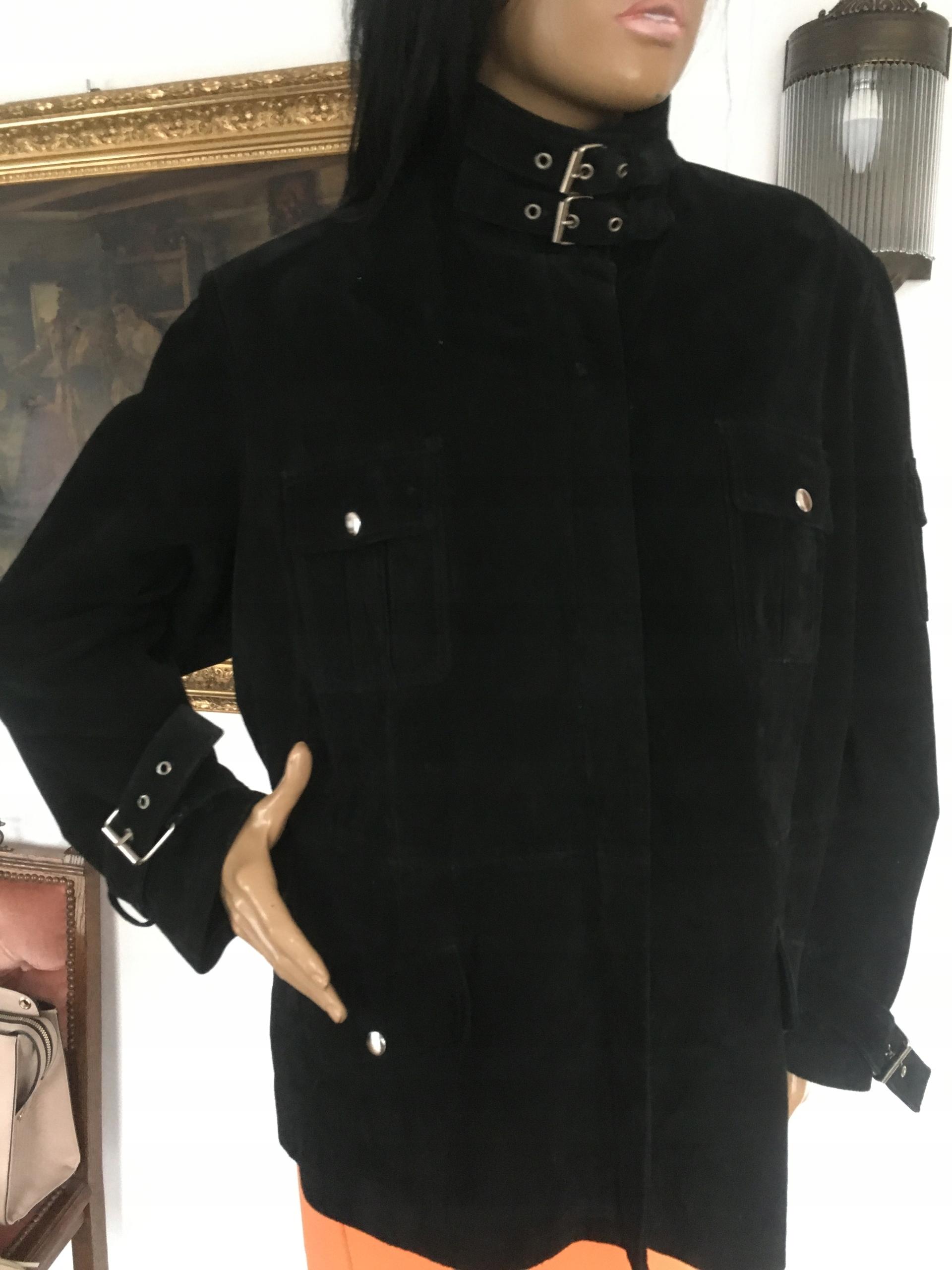 czarna zamszowa kurtka XXL z klamrami