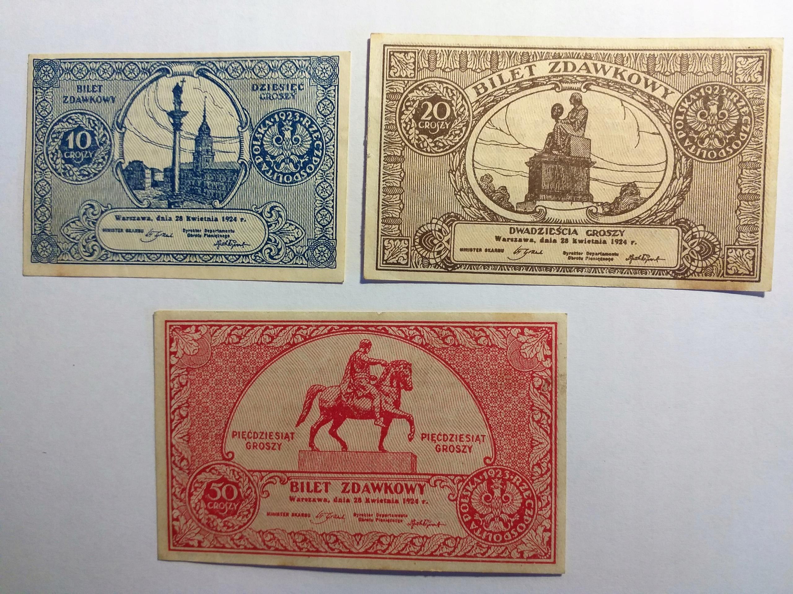 10,20,50 Groszy 1924r.