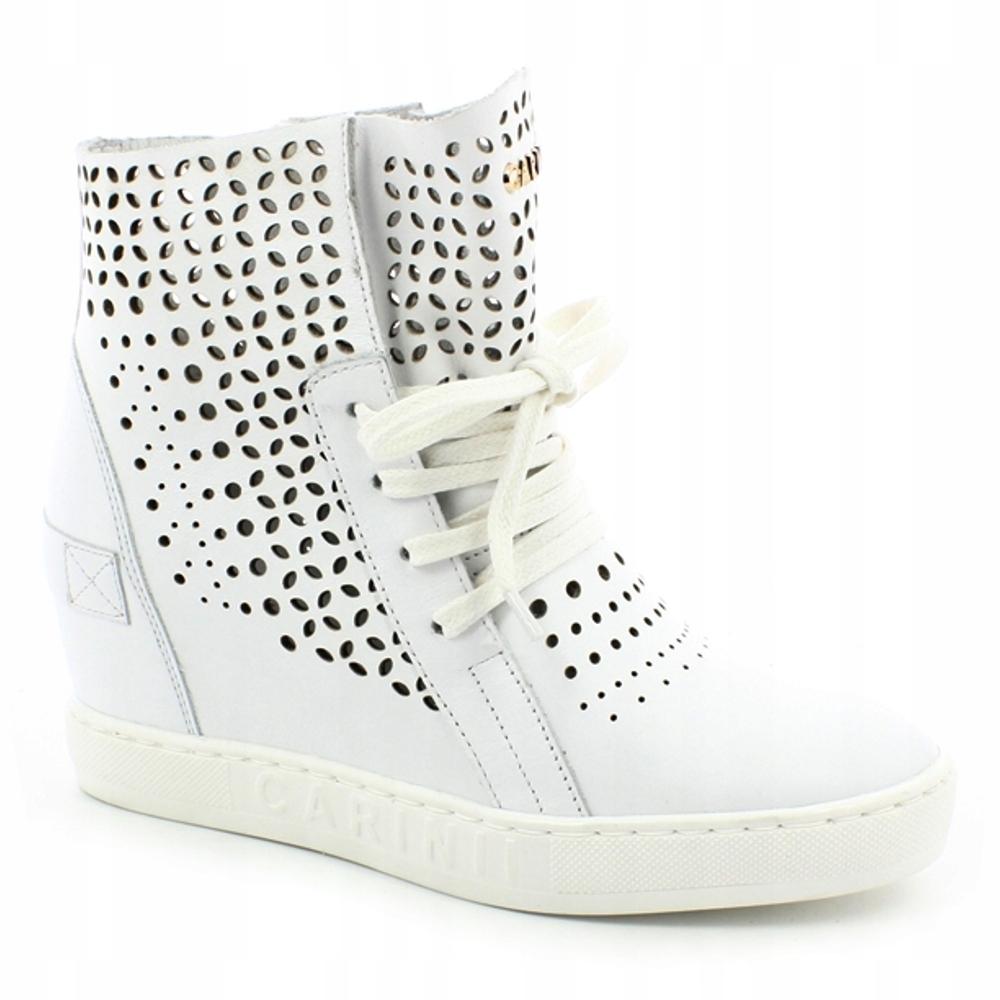 CARINII sneakersy, buty na koturnie białe 39