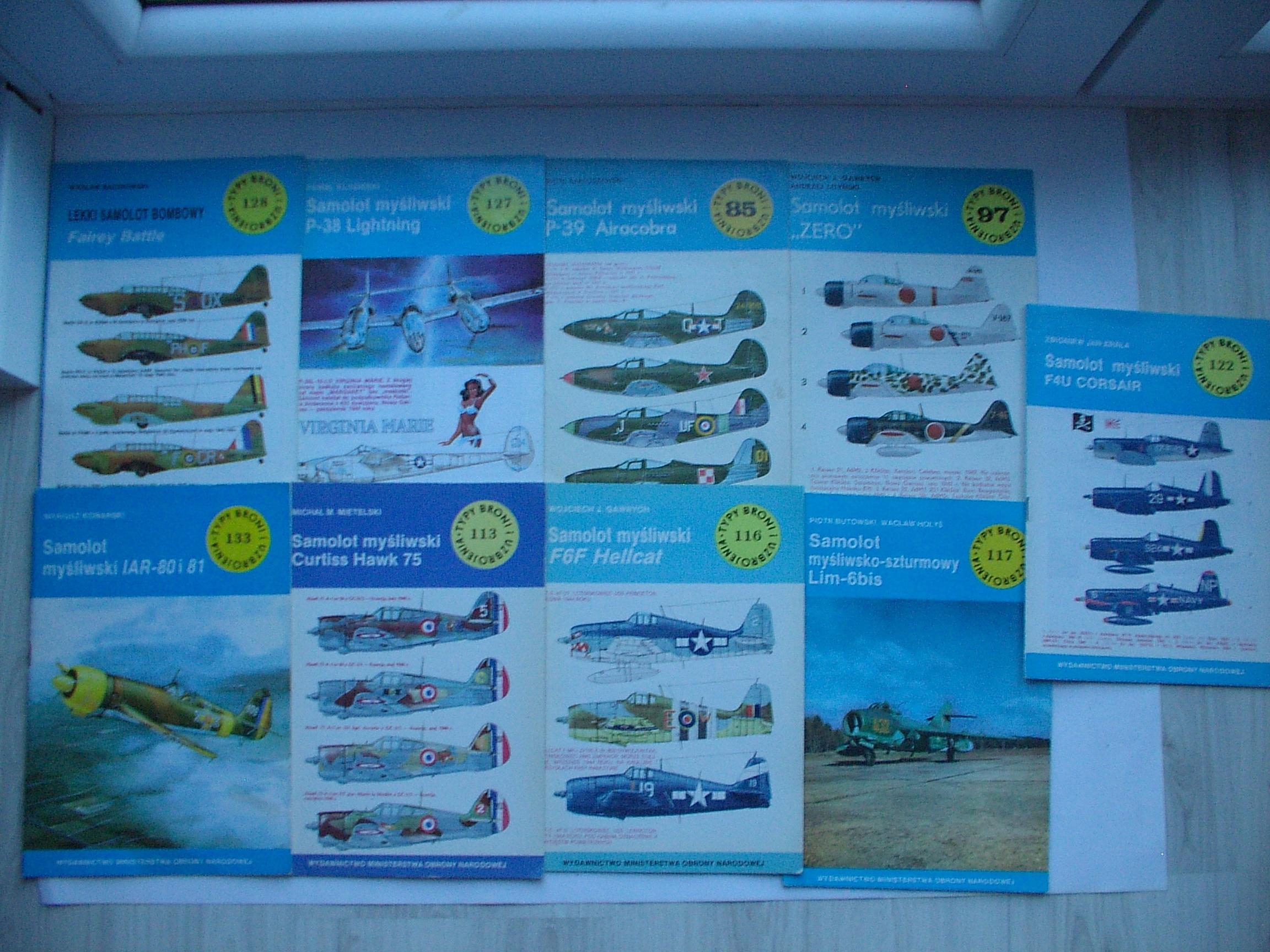 7xFairey Battle,Lightning,Aircobra, Zero,Hellcat