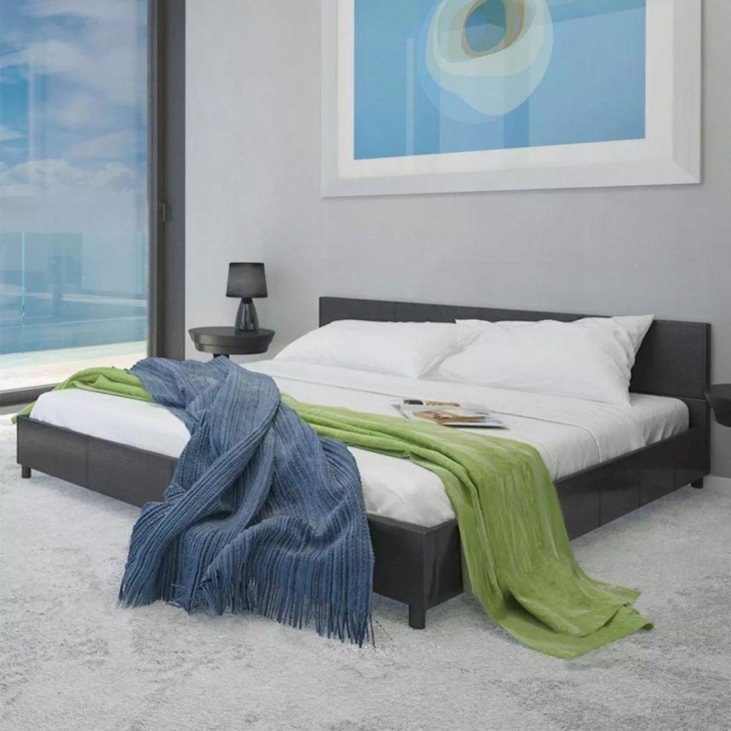 Łóżko ze sztucznej skóry, 140 x 200 cm, czarne GXP