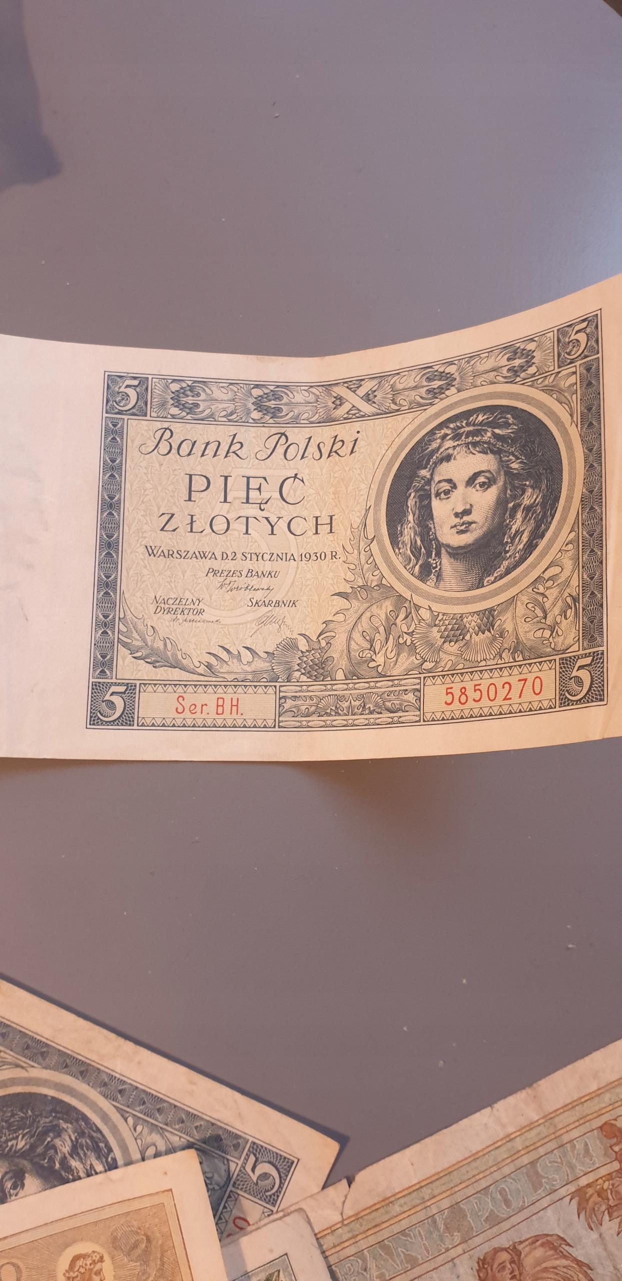 5 zł banknot z 1930 roku seria BH.