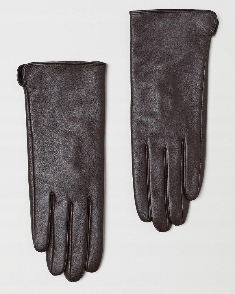 H&M skórzane, damskie rękawiczki M !