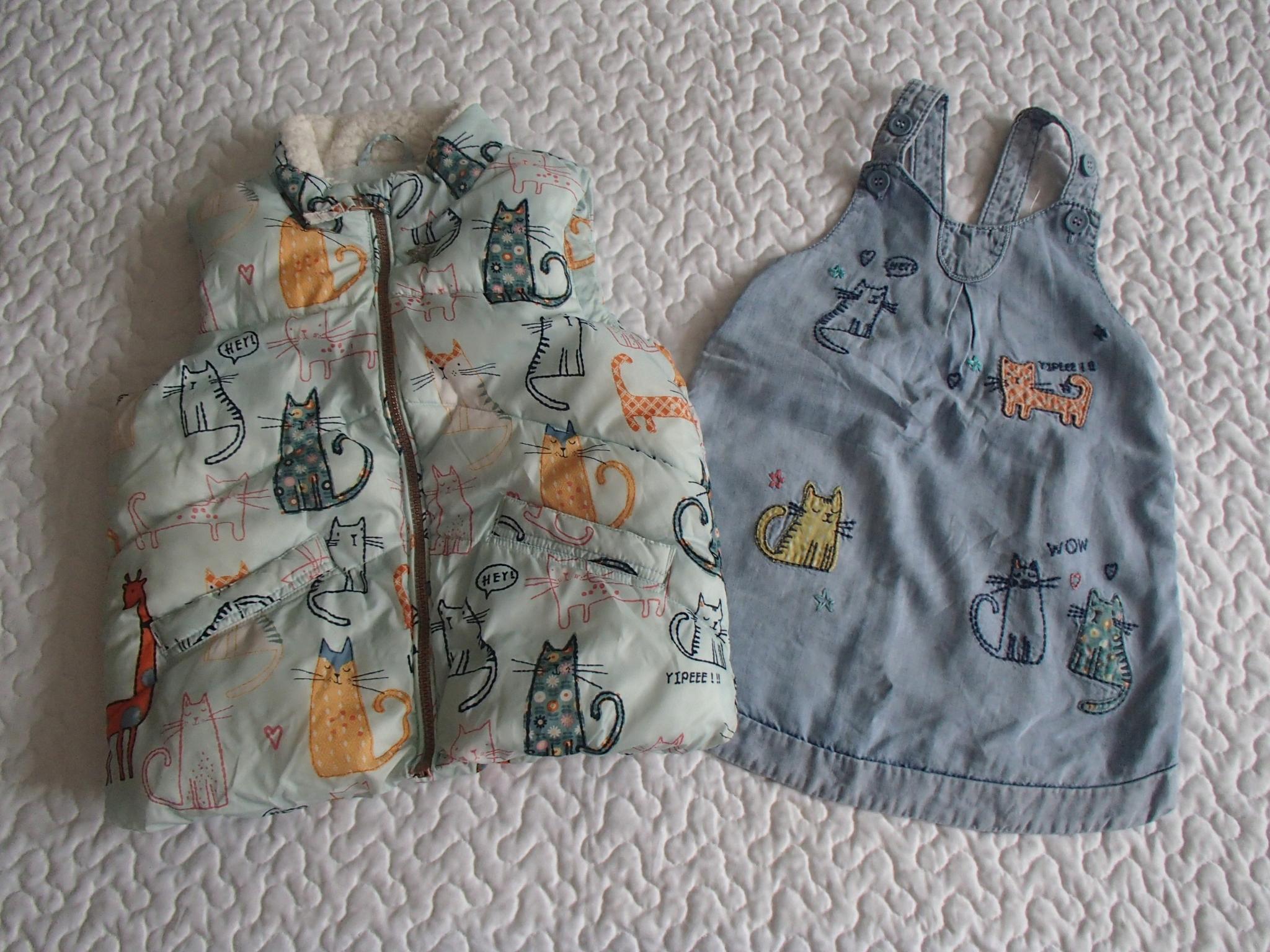 Next sukienka i kamizelka kotki roz 98-104