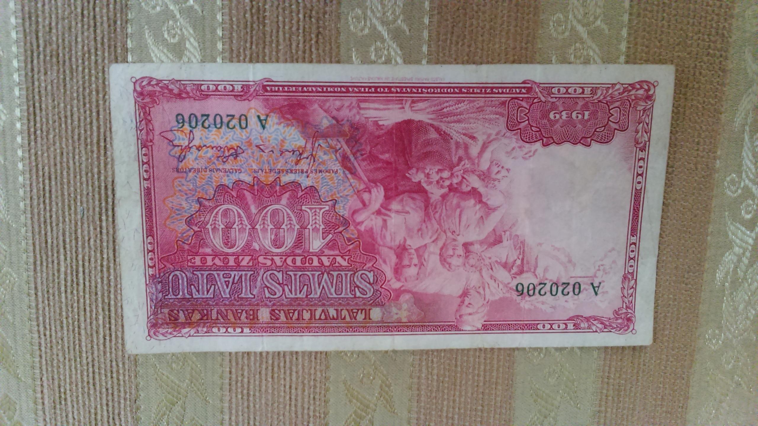 ŁOTWA - 100 ŁATÓW - PIĘKNY BANKNOT z 1939r. !!!!