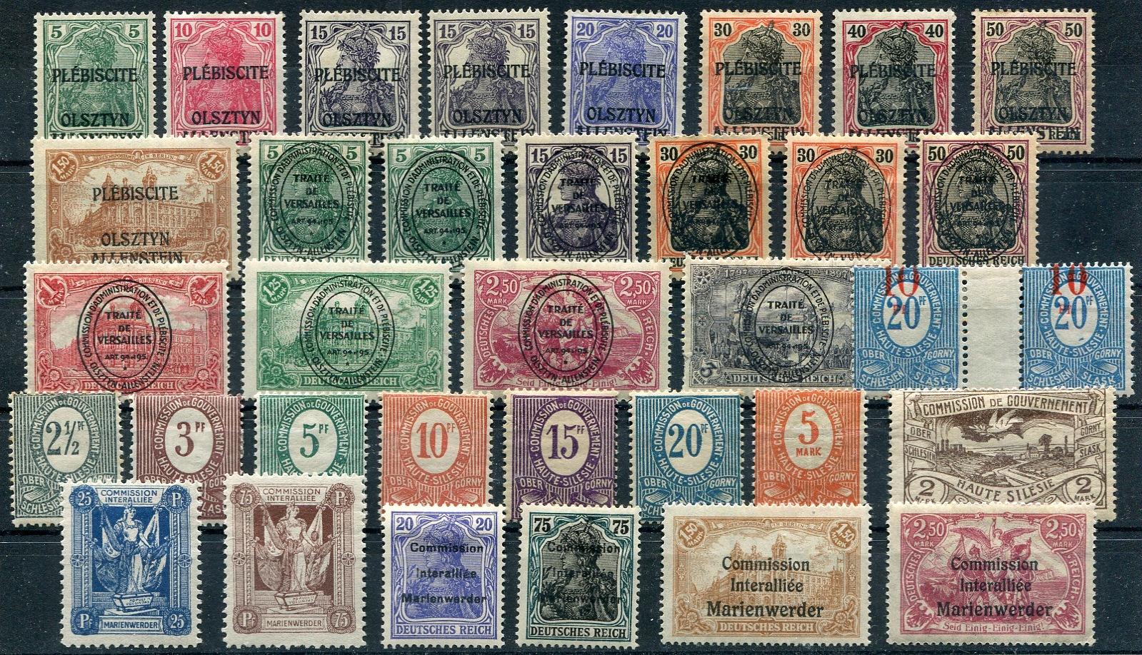 Plebiscyty - zestaw znaczków czystych.