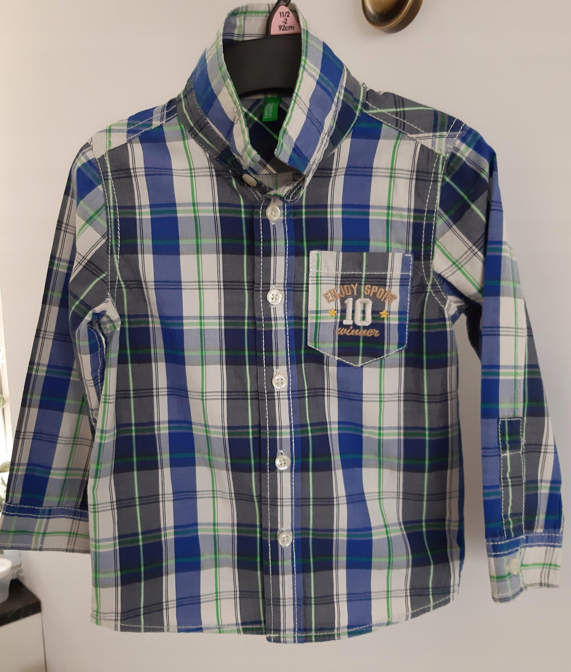 Koszula chłopięca BENETTON w kratkę R. 92cm 2lata