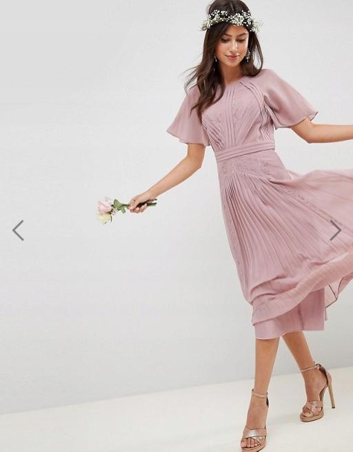 Sukienka ASOS 34 MIDI odkryte plecy nowość