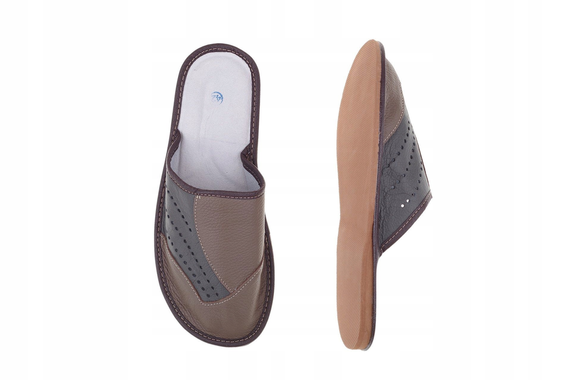 Kapcie skórzane profilowane pantofle kryte r. 43