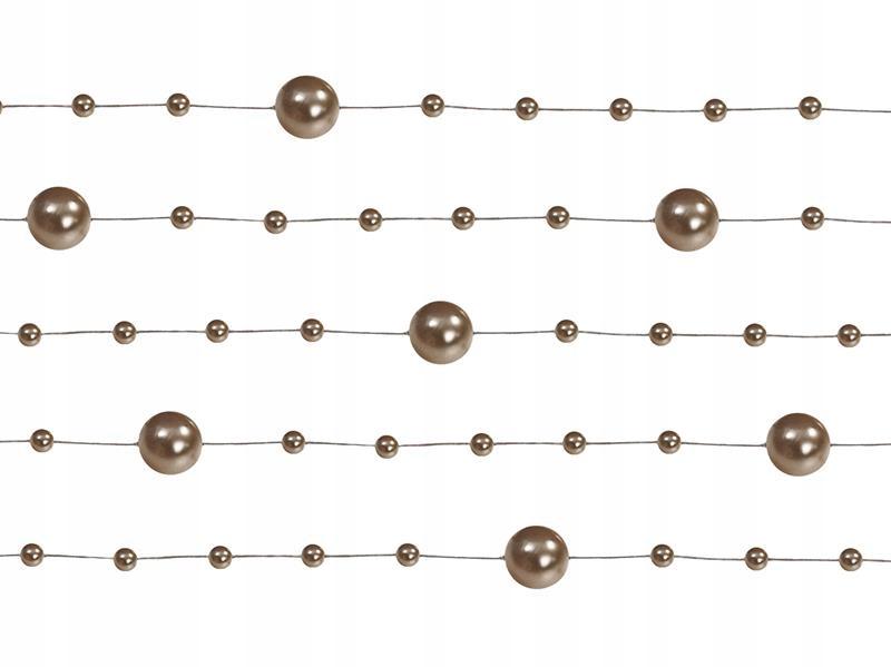 Perłowe Girlandy 5szt Cappucino Koraliki 1,3m Ślub