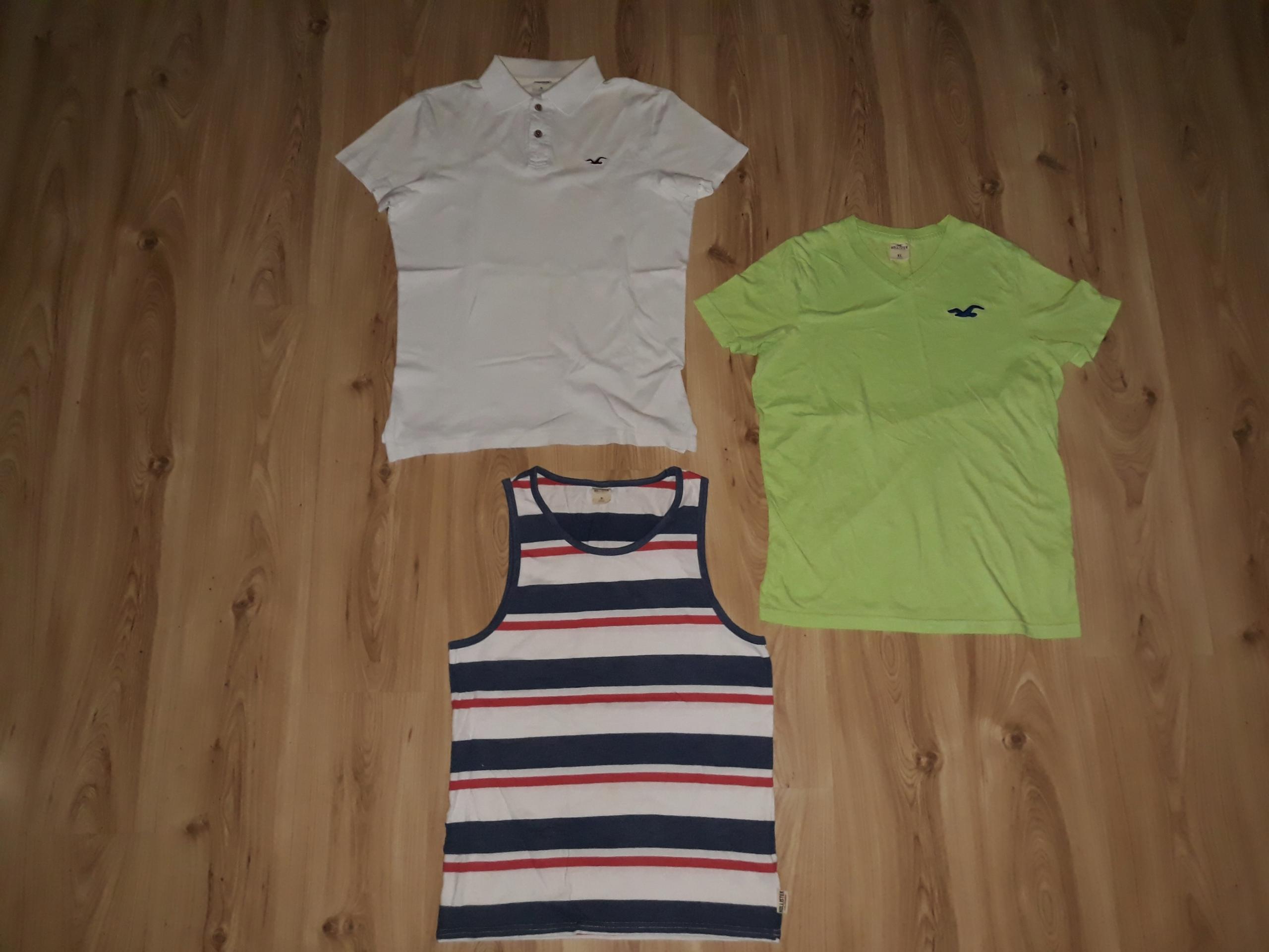 Trzy koszulki męskie M Hollister pakiet USA Polo