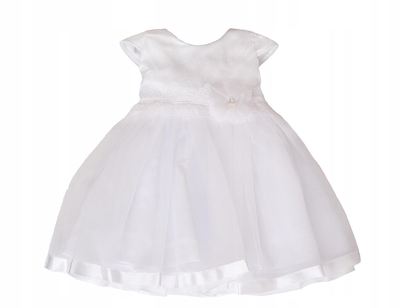 Biała błyszcząca satyna Sukienka do chrztu r 86
