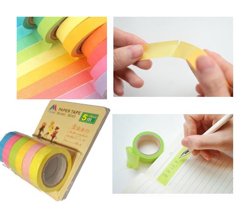 Kolorowa Taśma Papierowa Dekoracyjna Komplet 6 Szt