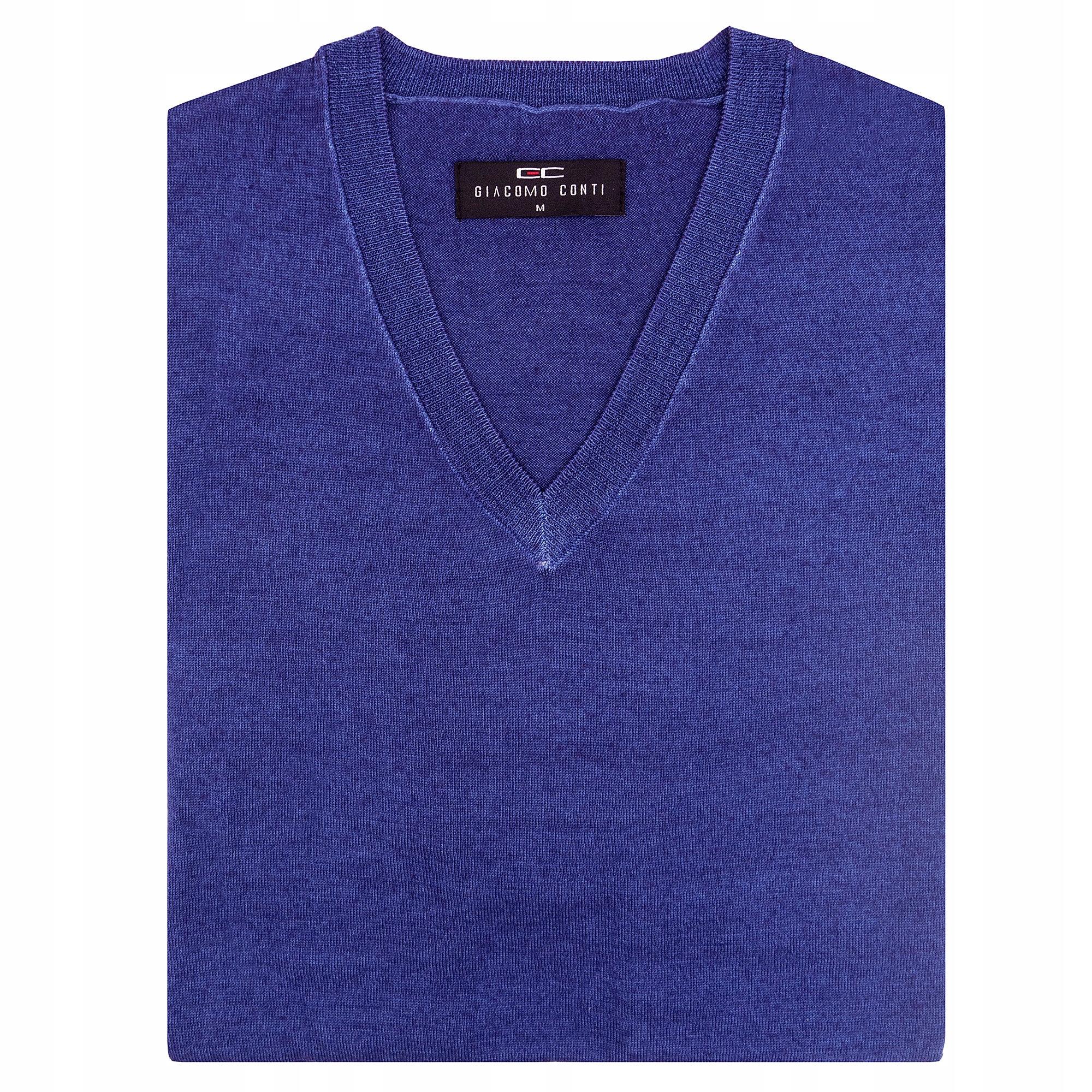 Sweter męski wełniany niebieski Giacomo Conti