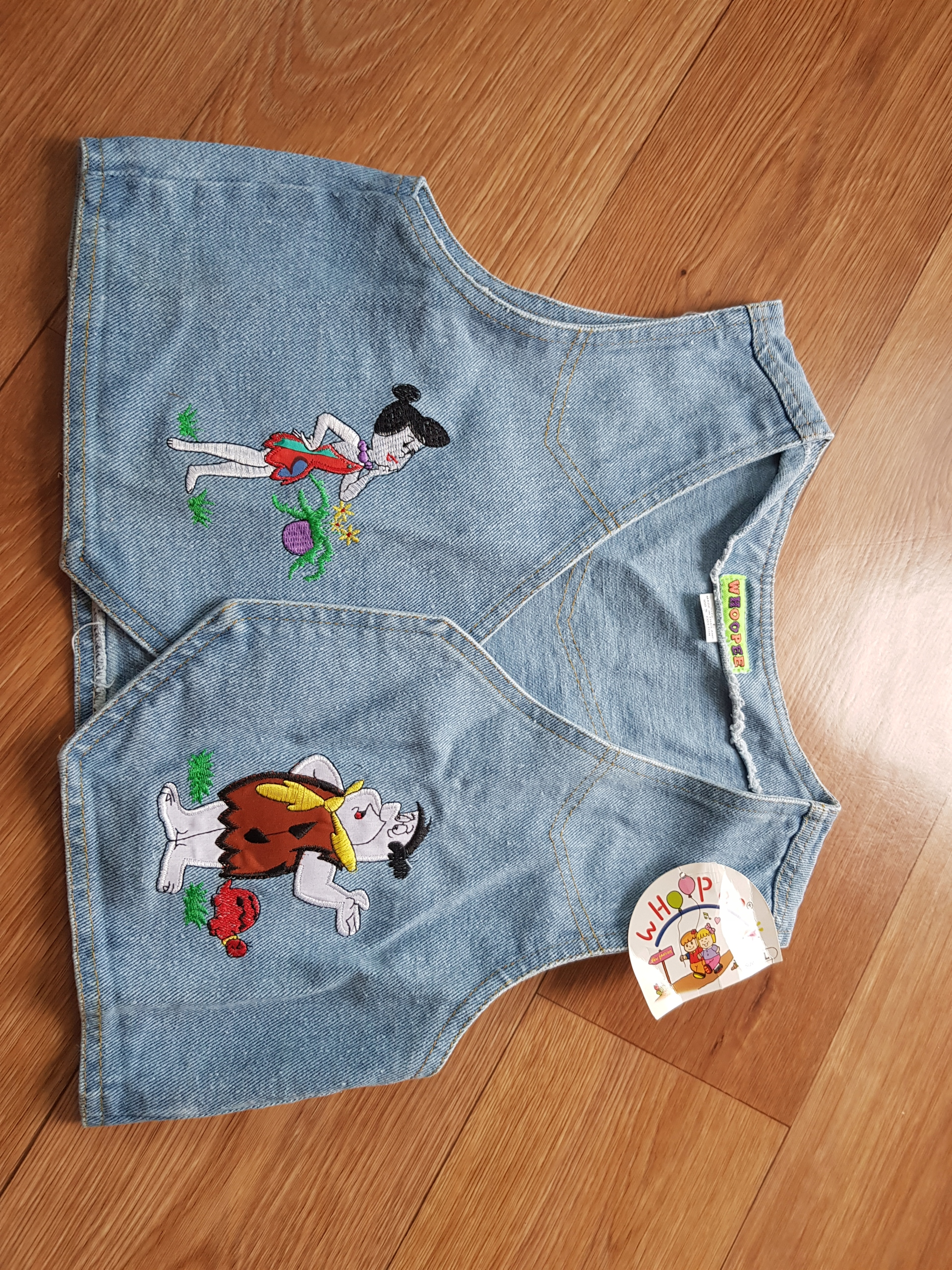 Kamizelka bezrękawnik dziecięca jeans Flintstone