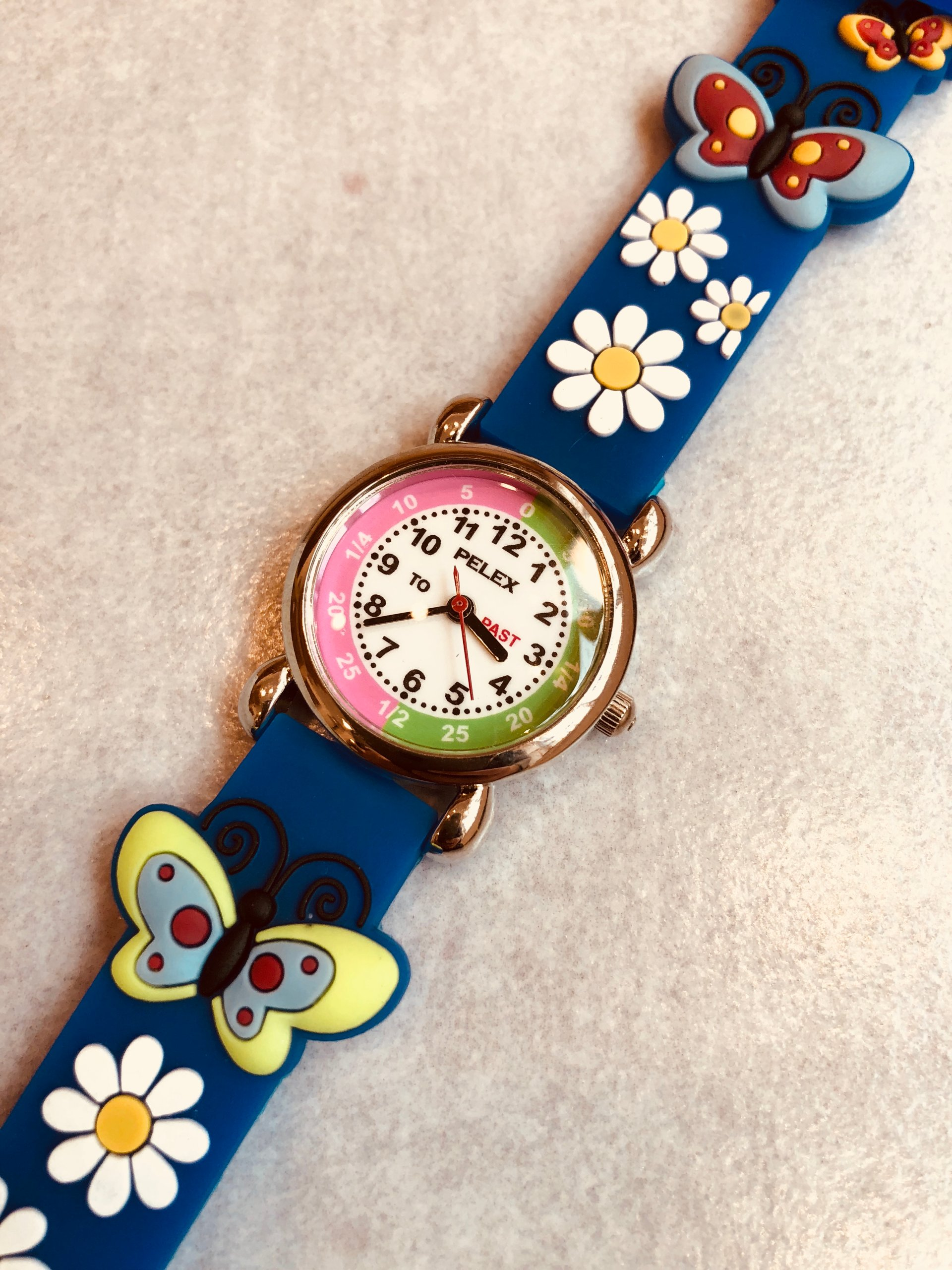Zegarek Dzieciecy Pelex Niebieski Motylek