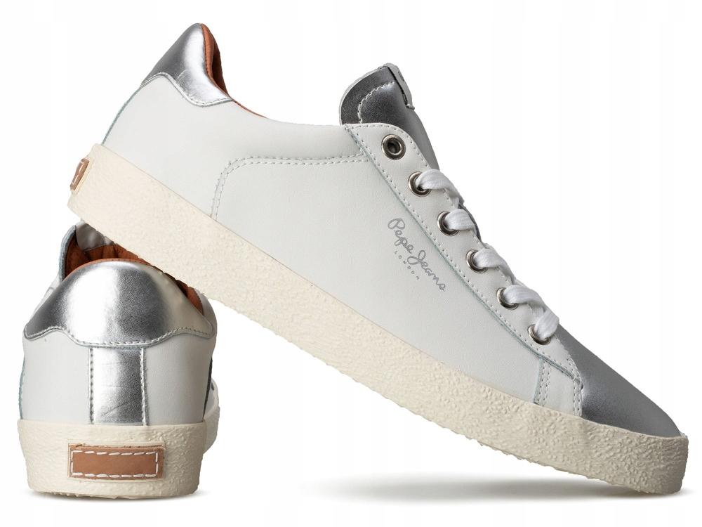 PEPE JEANS sportowe buty damskie trampki BIAŁE