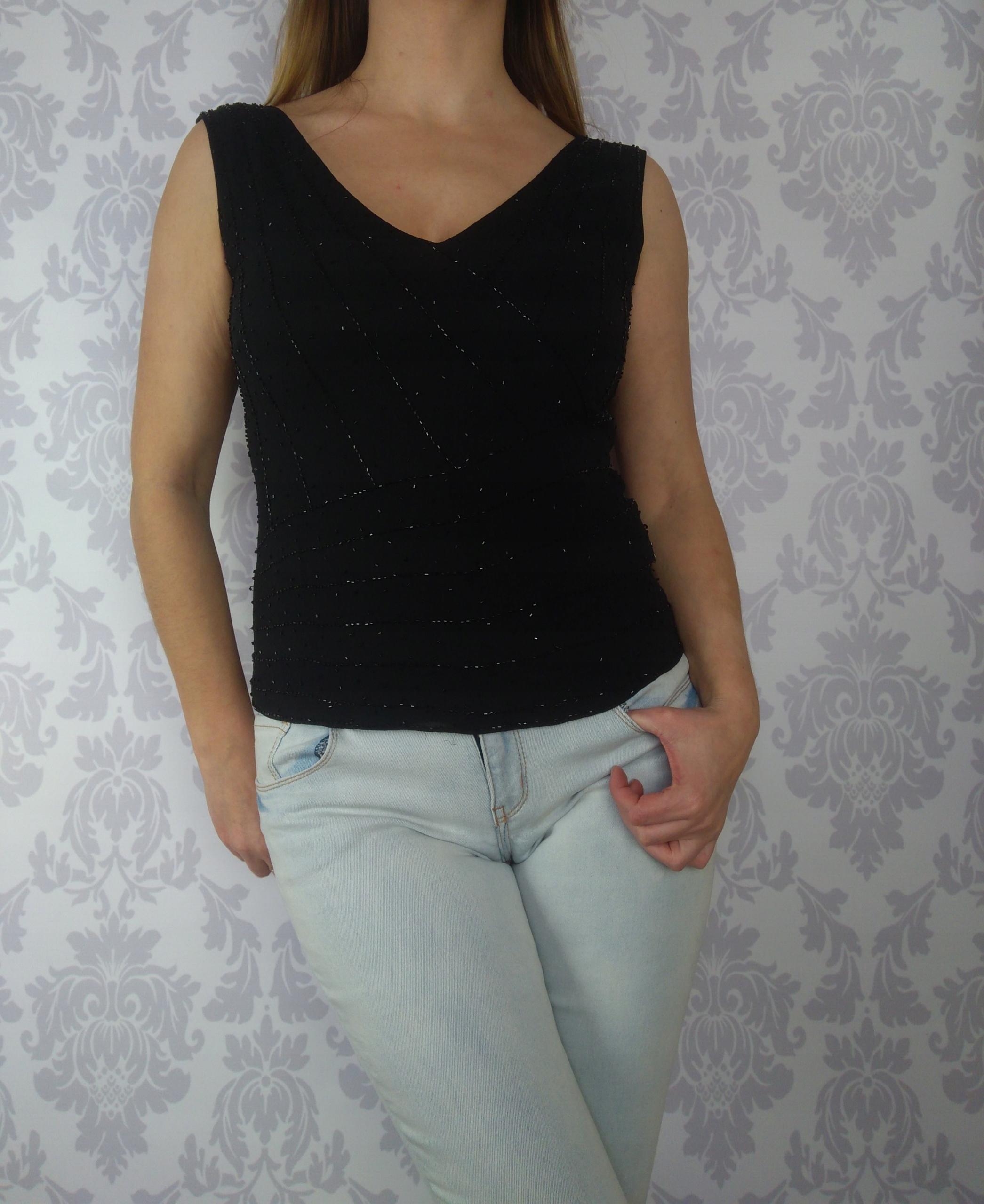 Rozm 40 Czarna elegancka jedwabna bluzka Marks