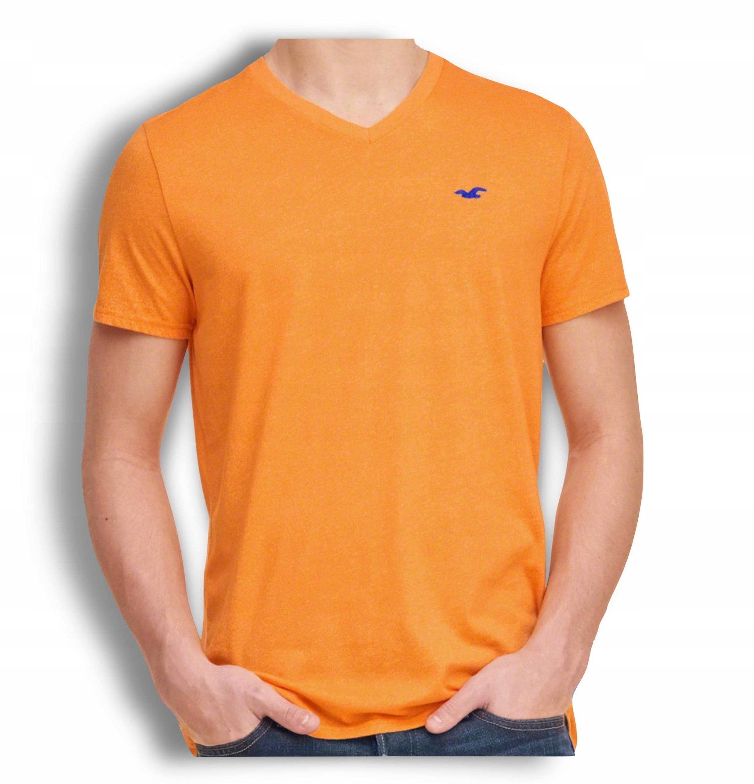 t-shirt pomarańcz koszulka HOLLISTER abercrombie M