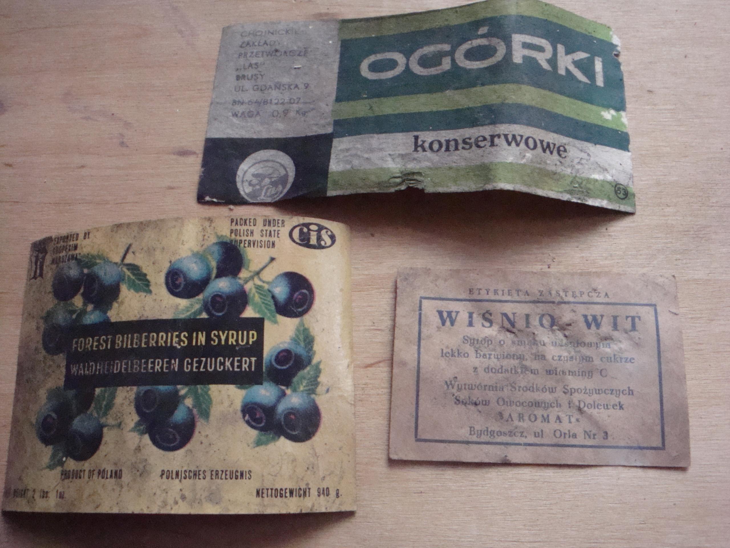 stare etykiety ze słoików