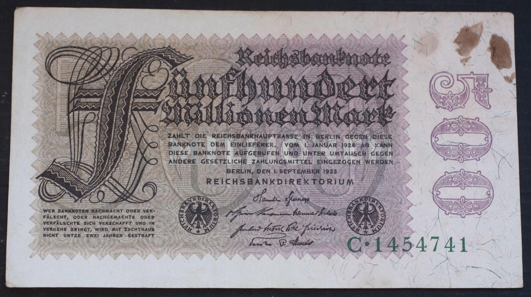 """500 Millionen mark 1923 Ros.109A....od 2,99"
