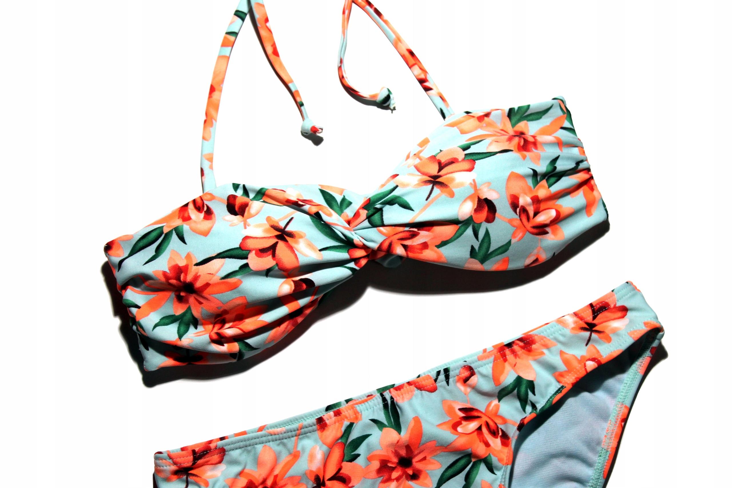 ATMOSPHERE Bikini Strój Kwiaty Wiązane Na Szyi S/M