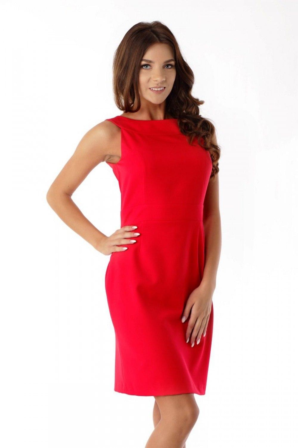 8693cdcc7e Dopasowana sukienka odcięta w pasie ED06-1 Red - 7175633835 - oficjalne  archiwum allegro