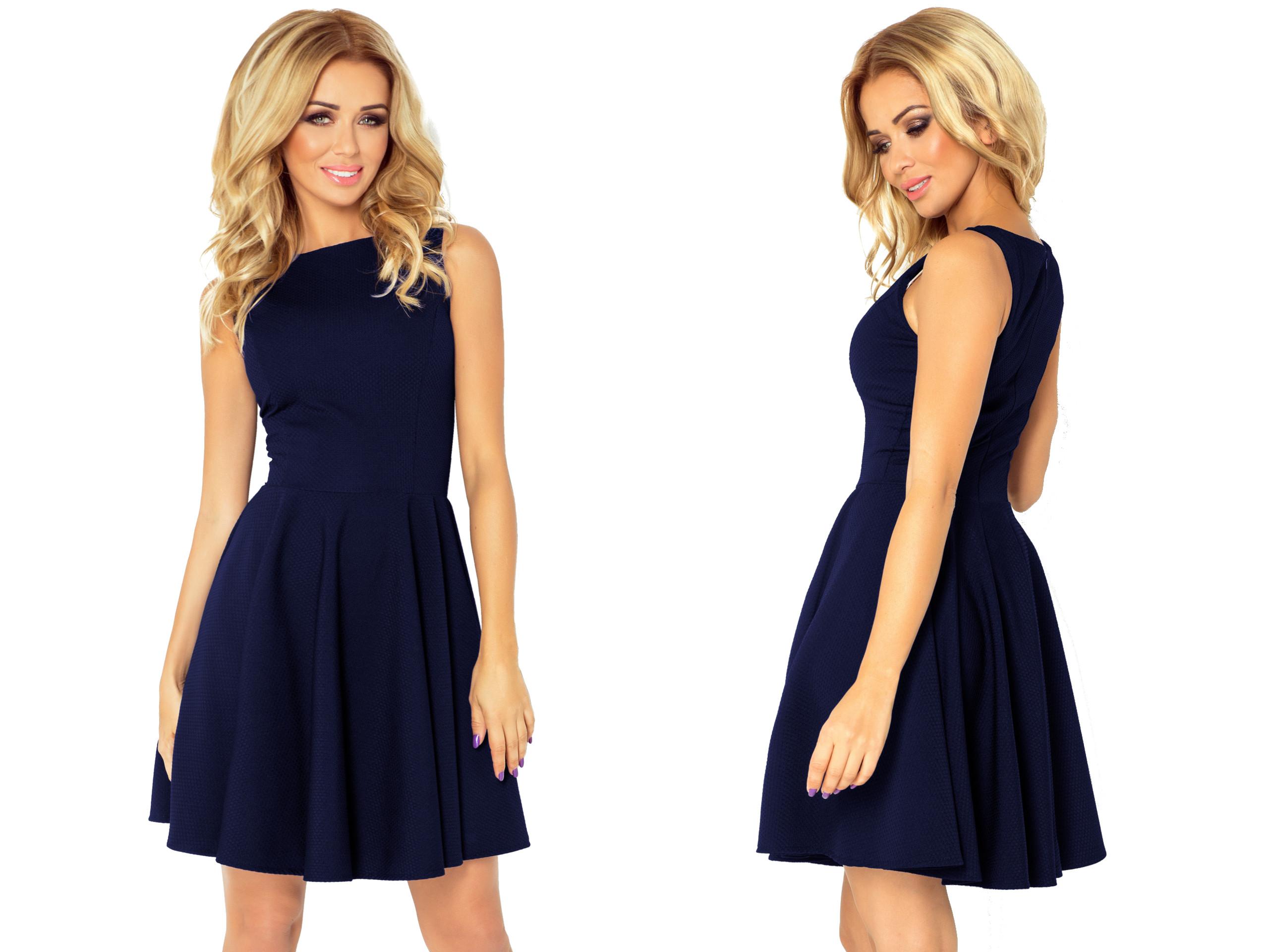 96cf38125f Sukienka Na Imprezę WESELE GRANATOWA 125-21 XL 42 - 7189426198 ...