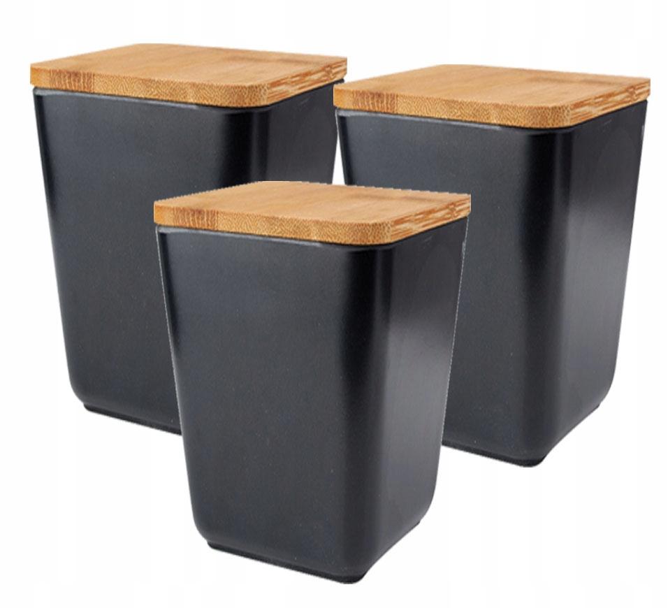 3 Pojemniki Kuchenne Bambus Na żywność Pojemnik M