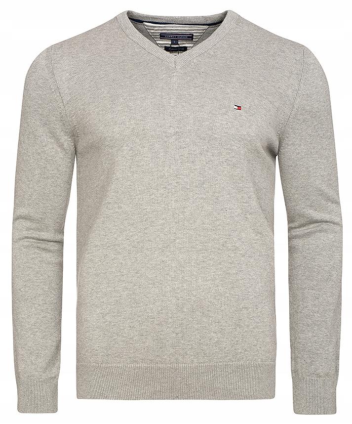 Nowy sweter męski Tommy Hilfiger V-neck Grey r.XXL