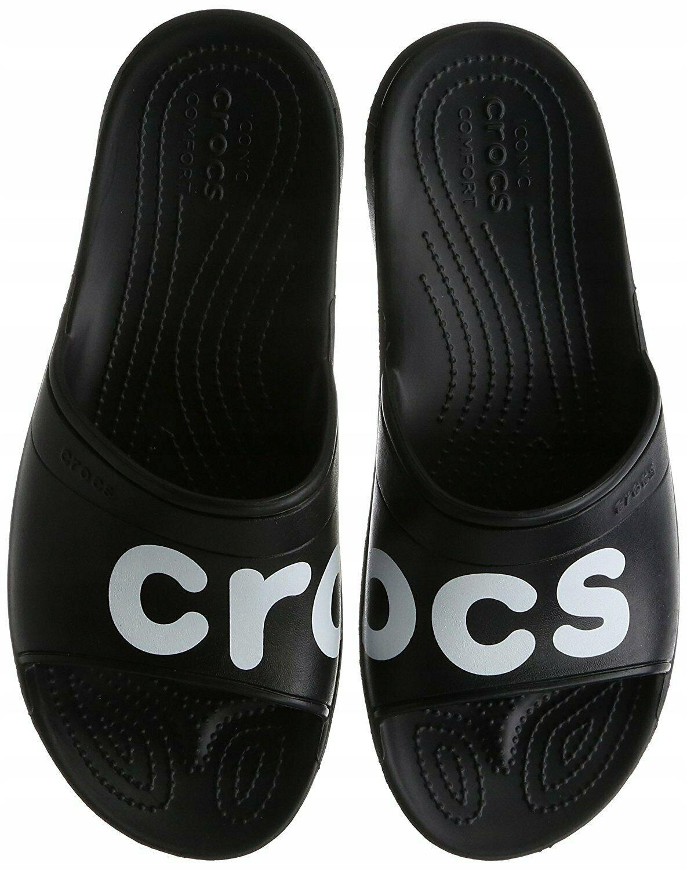 CROCS CLASSIC GRAPHIC SLIDE Black /White 48-49 USA