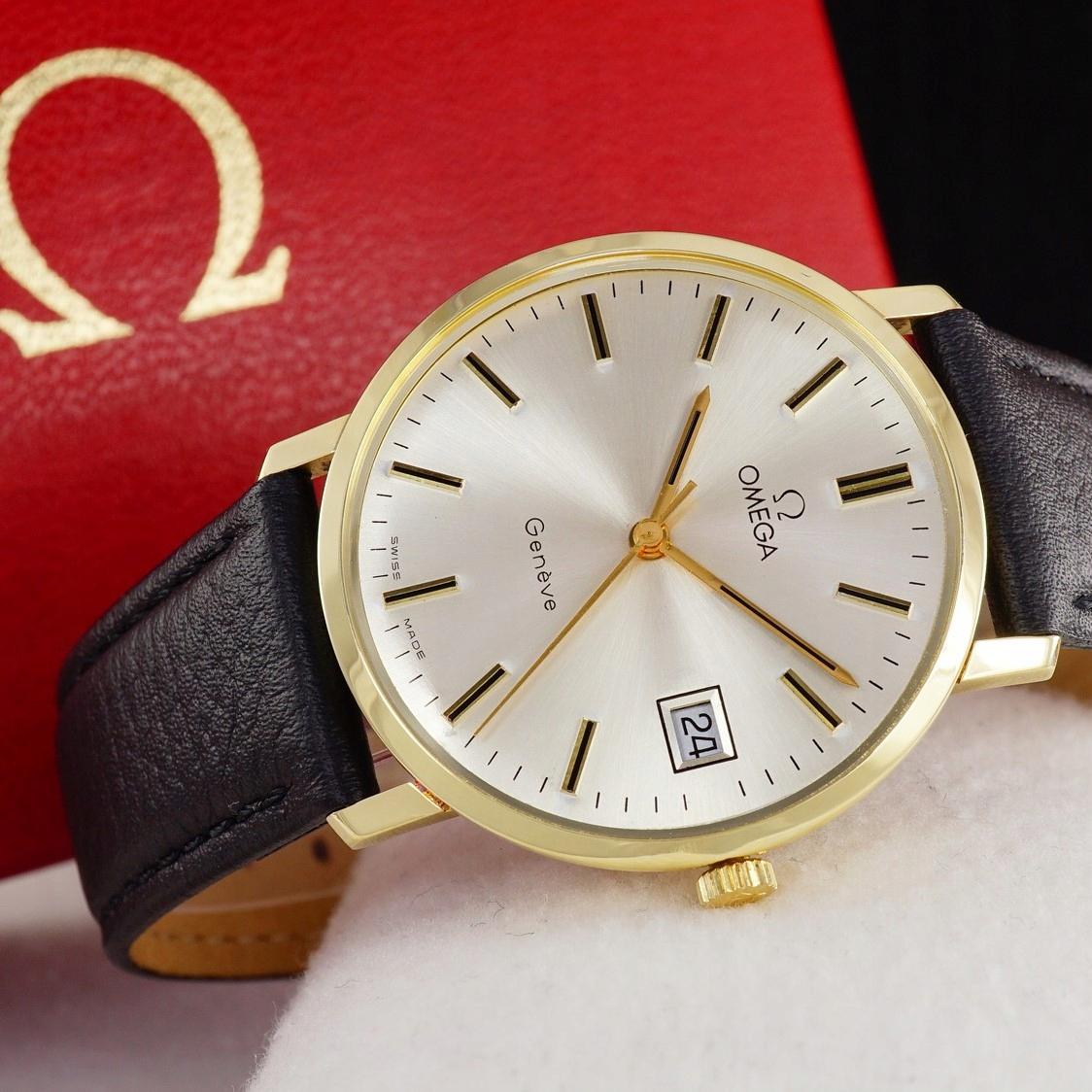 OMEGA Geneve złoty zegarek 14K 1972 rok + BOX