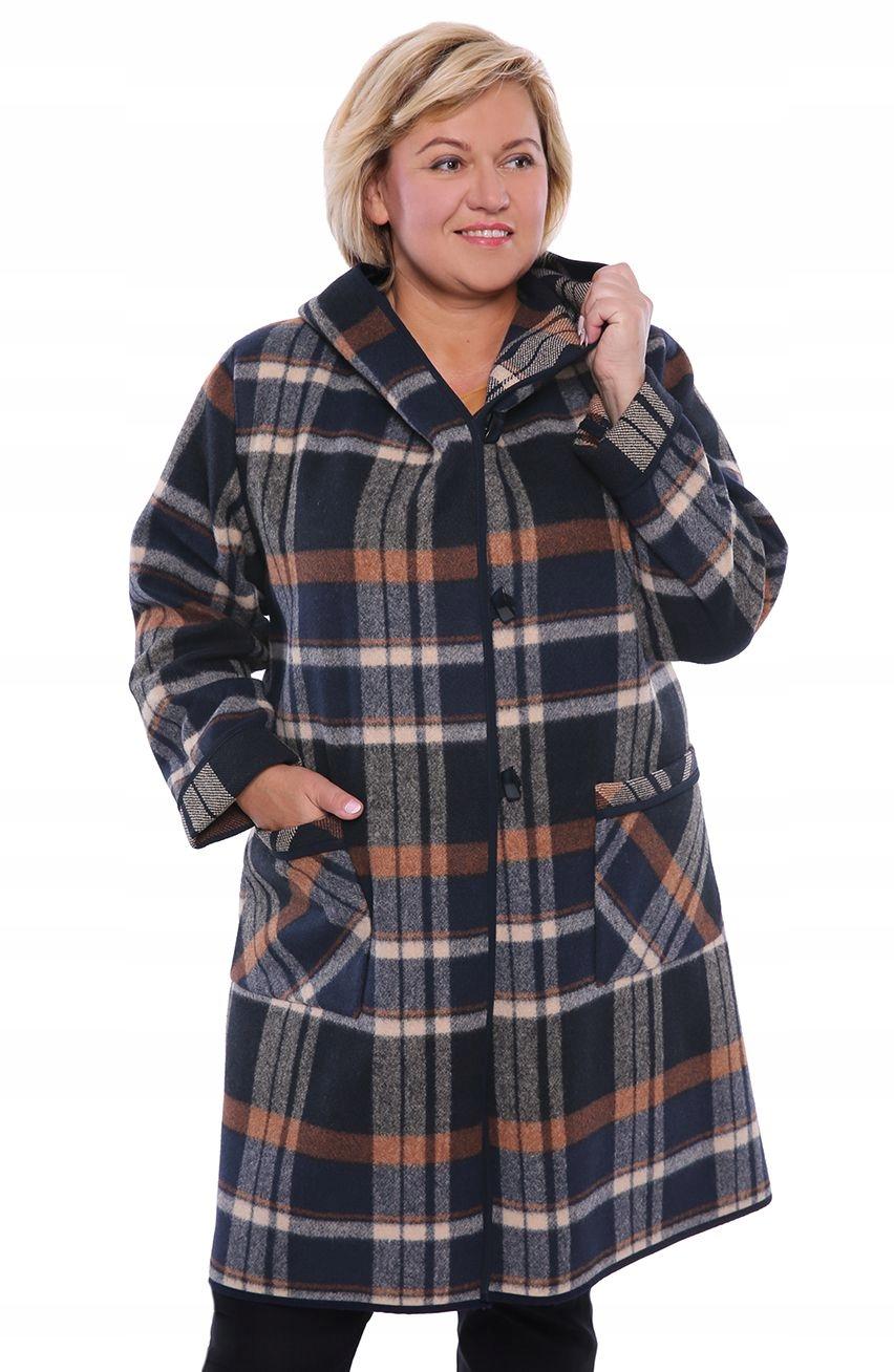 Dłuższy płaszcz w kratę z kapturem 50