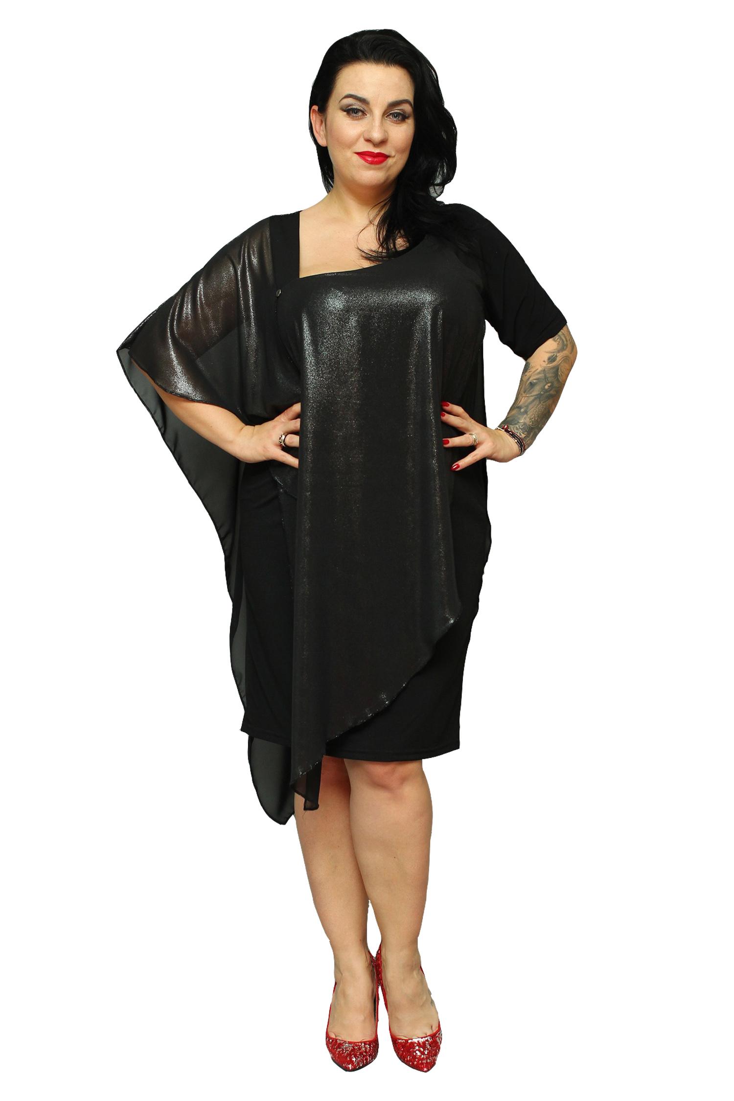 6d3278dd57 WYPRZEDAŻ Sukienka DANKA z narzutką czarna 50 - 7339936151 ...