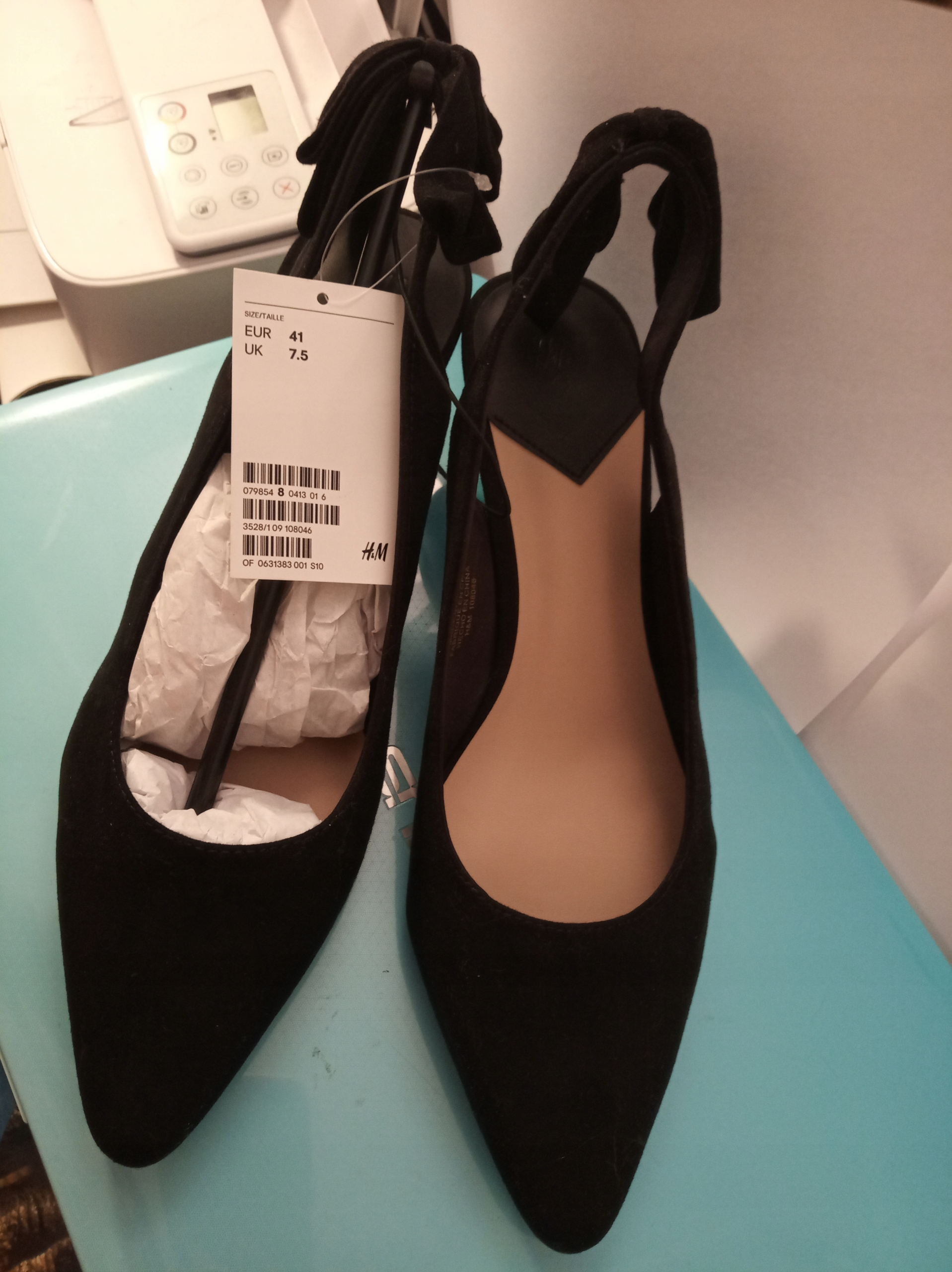 BUTY H&M 41 czarne botki sandałki kokarka