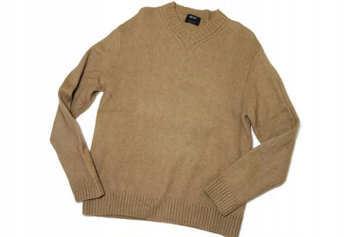 A677*HUGO BOSS sweter PURE CAMEL retro UNIKATOWY L