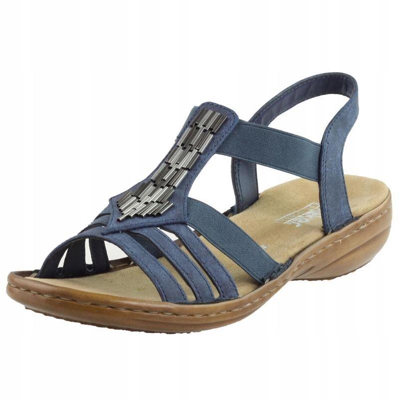 Niebieskie Sandały damskie Rieker 60800-14 R.42
