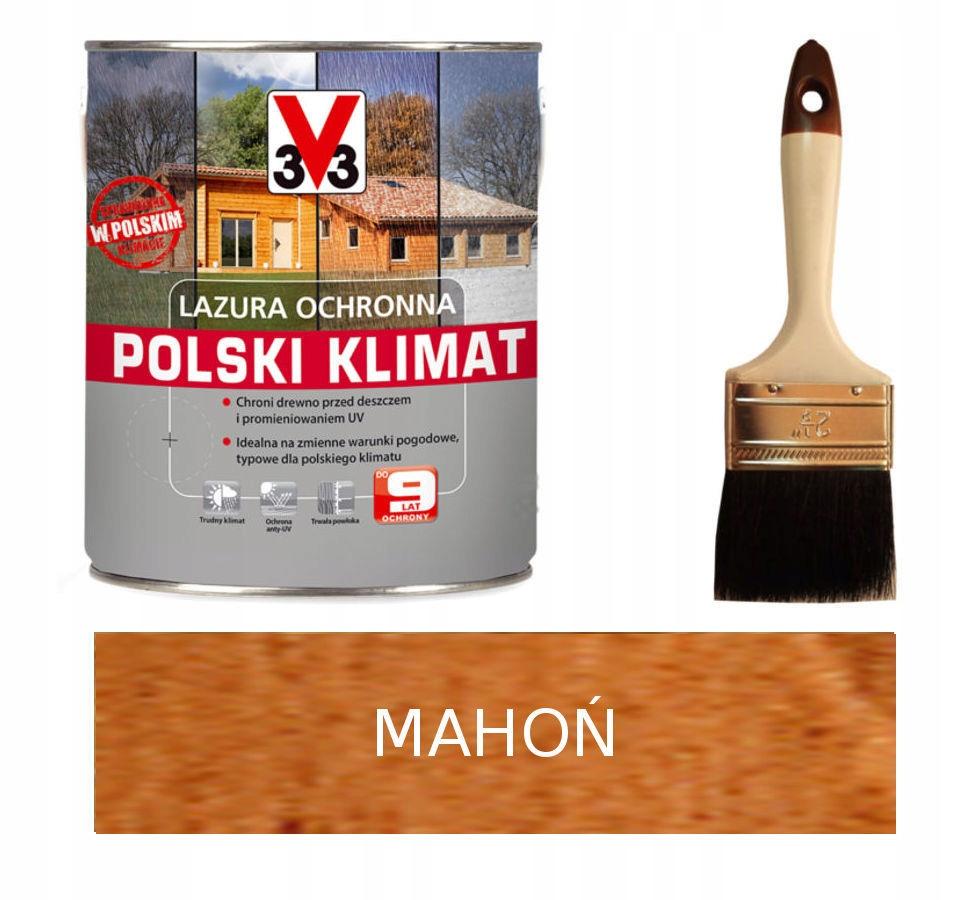V33 3V3 Lazura Polski Klimat 5L mahoń +PĘDZEL