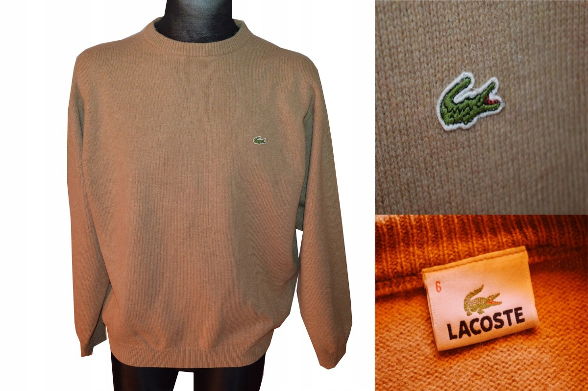 LACOSTE SUPER SWETER 6/XL WEŁNA BEŻOWY !!!