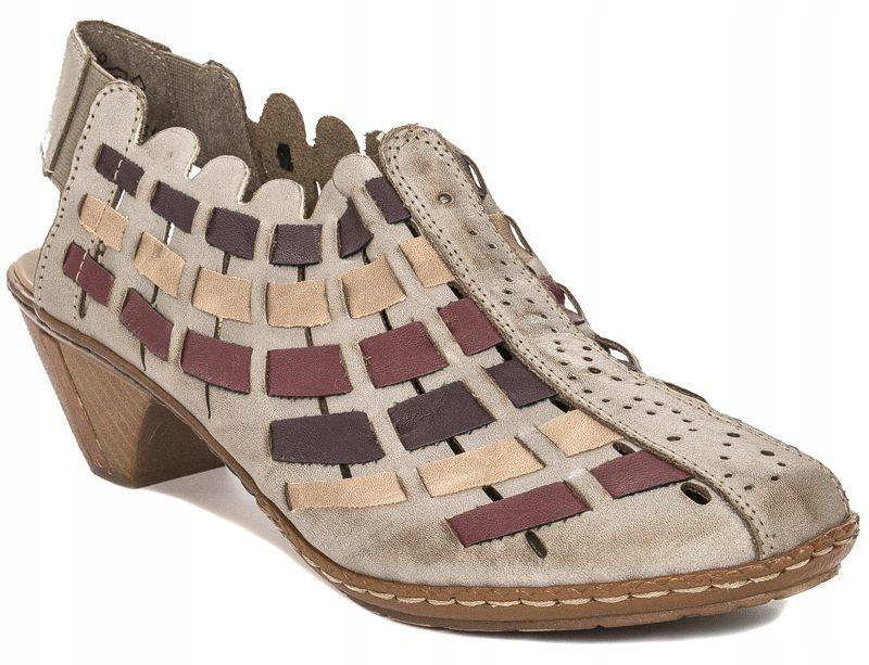Sandały damskie Rieker r.41 skórzane beż 46778-62
